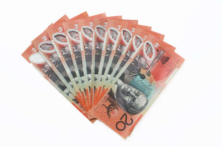 five dollar bill: A fan of australian twenty dollar bills Stock Photo