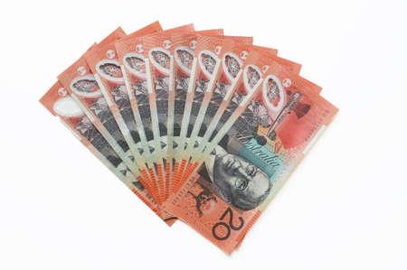 twenty: A fan of australian twenty dollar bills Stock Photo