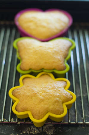 Mini cakes in coloured silicone moulds baking in the oven photo