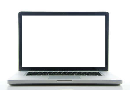 Modern laptop with white screen front view isolated on a white background Stock Photo - 4342303