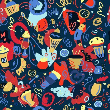 Patrón transparente de vector dibujado a mano de café y té con diferentes postres para el menú de cafetería y restaurante, fondos ... Hora del café. Ilustración de Doodle.