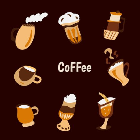 Handdrawn vector illustration concept, set of coffee and tea with different desserts for coffee shop and restaurant menu, backgrounds in a circle. Coffee time. Doodle style Imagens - 128030199