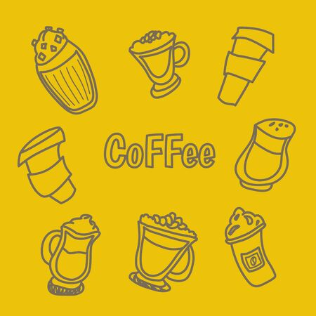 Handdrawn vector illustration concept, set of coffee and tea with different desserts for coffee shop and restaurant menu, backgrounds in a circle. Coffee time. Doodle style Imagens - 128030202