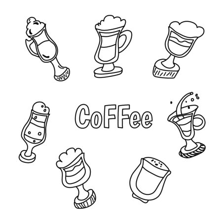 Handdrawn vector illustration concept, set of coffee and tea with different desserts for coffee shop and restaurant menu, backgrounds in a circle. Coffee time. Doodle style Vectores