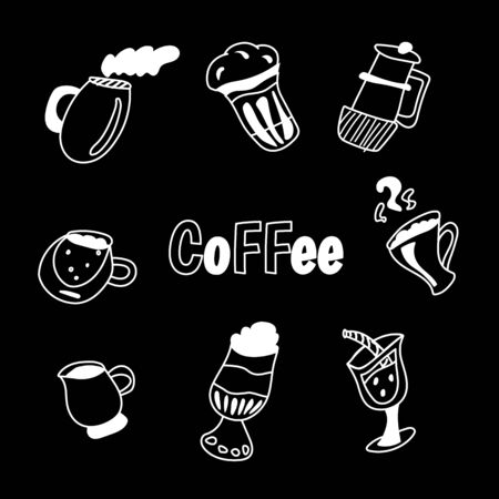 Handdrawn vector illustration concept, set of coffee and tea with different desserts for coffee shop and restaurant menu, backgrounds in a circle. Coffee time. Doodle style Illustration