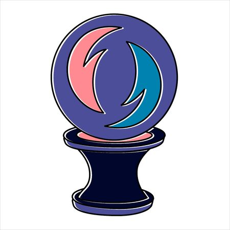 Fortune teelling, divination isolated crystal ball for mystic sphere of activity, shop. Witch store. Idea Taromancy, esoteric books, presentation, website. Furtive telling and witchcraft icons. Vector doodle  illustrations 向量圖像