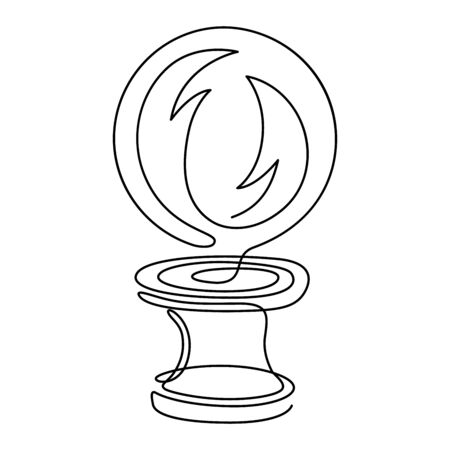 Fortune teelling, divination isolated crystal ball for mystic sphere of activity, shop. Witch store. Idea Taromancy, esoteric books, presentation, website. Furtive telling and witchcraft icons. Vector doodle  illustrations Imagens - 131271074