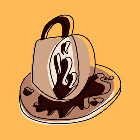 Fortune teelling, divination isolated cup of coffee for mystic sphere of activity, shop. Witch store. Idea Taromancy, esoteric books, presentation, website. Furtive telling and witchcraft icons. Vector doodle  illustrations Imagens - 131271216