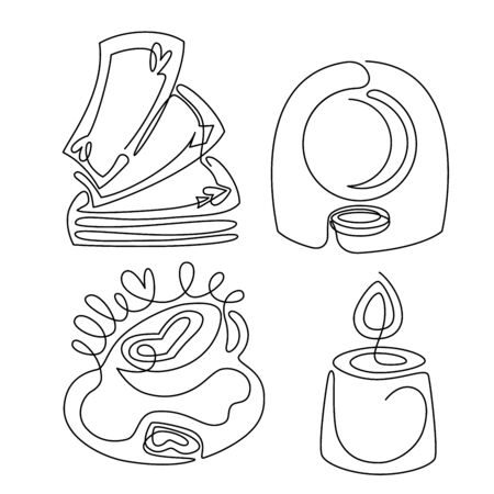 Fortune teelling and divination isolated elements for a mystic sphere of activity, shop. Witch store. Idea for a Taromancy, esoteric, occult books, presentation, website. Furtive telling and witchcraft set icons. Vector outline doodle mystery illustrations Imagens - 131271258