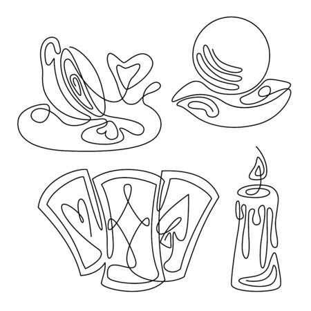 Fortune teelling and divination isolated elements for a mystic sphere of activity, shop. Witch store. Idea for a Taromancy, esoteric, occult books, presentation, website. Furtive telling and witchcraft set icons. Vector outline doodle mystery illustrations Imagens - 131271259