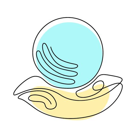 Fortune teelling, divination isolated crystal ball for mystic sphere of activity, shop. Witch store. Idea Taromancy, esoteric books, presentation, website. Furtive telling and witchcraft icons. Vector doodle  illustrations Ilustração