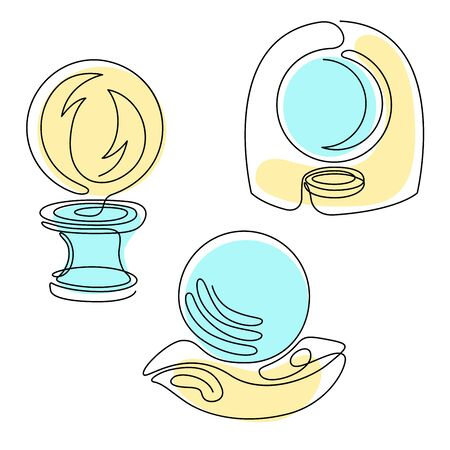 Fortune teelling, divination isolated crystal ball for mystic sphere of activity, shop. Witch store. Idea Taromancy, esoteric books, presentation, website. Furtive telling and witchcraft icons. Vector doodle  illustrations Vettoriali