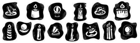 Fortune teelling and divination isolated elements for a mystic sphere of activity, shop. Witch store. Idea for a Taromancy, esoteric, occult books, presentation, website. Furtive telling and witchcraft set icons. Vector outline doodle mystery illustrations Imagens - 131271622