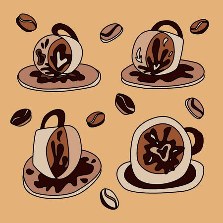 Fortune teelling, divination isolated cup of coffee for mystic sphere of activity, shop. Witch store. Idea Taromancy, esoteric books, presentation, website. Furtive telling and witchcraft icons. Vector doodle  illustrations