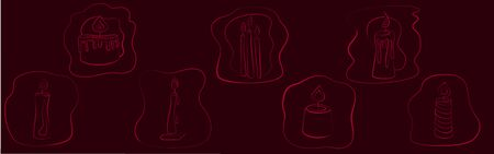 Fortune teelling, divination isolated candles for mystic sphere of activity, shop. Witch store. Idea Taromancy, esoteric books, presentation, website. Furtive telling and witchcraft icons. Vector doodle  illustrations Imagens - 131271665