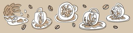 Fortune teelling, divination isolated cup of coffee for mystic sphere of activity, shop. Witch store. Idea Taromancy, esoteric books, presentation, website. Furtive telling and witchcraft icons. Vector doodle  illustrations Imagens - 131271762