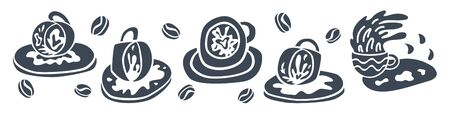 Fortune teelling, divination isolated cup of coffee for mystic sphere of activity, shop. Witch store. Idea Taromancy, esoteric books, presentation, website. Furtive telling and witchcraft icons. Vector doodle  illustrations Imagens - 131271763