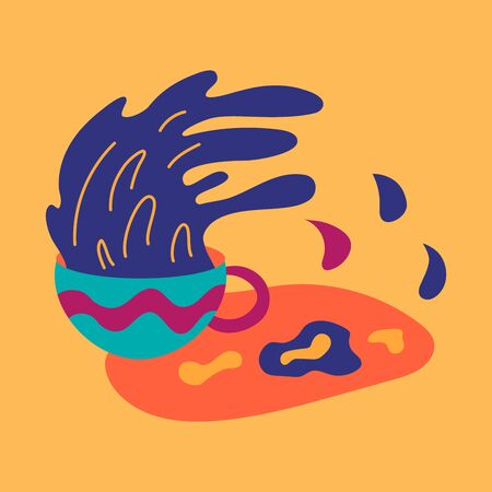 Fortune teelling, divination isolated cup of coffee for mystic sphere of activity, shop. Witch store. Idea Taromancy, esoteric books, presentation, website. Furtive telling and witchcraft icons. Vector doodle  illustrations Imagens - 131271765