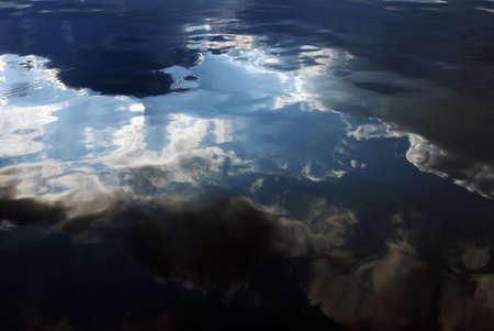 Dark blue water reflects beautiful cloudy sky