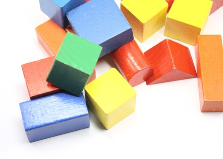 Variety of colored blocks isolated on white. Stock Photo - 4274224