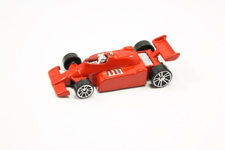 indy: Indy racing toy car shot on isolated white background. Stock Photo