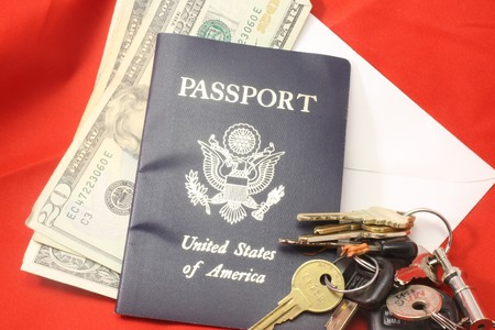 Passport, money and keys are ready to go.
