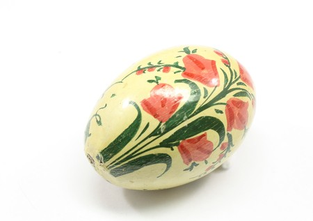 beginnings: Antique Easter egg isolated on a white background. Stock Photo
