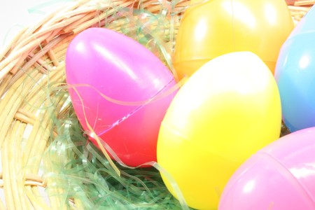 Close up of Easter eggs in a basket. photo