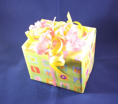 wrapped present: A nicely wrapped present ready for giving. Stock Photo