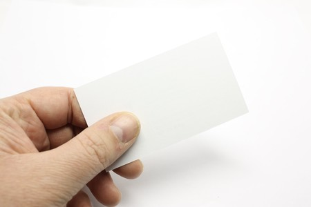 Handing out a business card, a blank one for your logo.