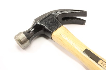 pounding head: Hammer isolated on a white background. Stock Photo
