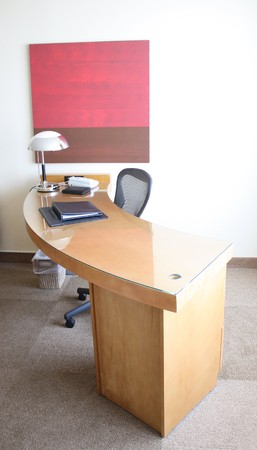 luxury hotel room: Desk at a luxury hotel room suite.