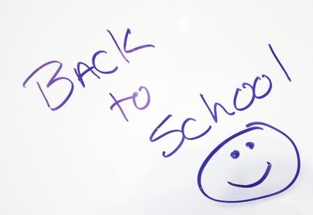 Back to school written on a white board.