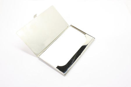 businesscard: Blank business card holder with card ready for your logo. Stock Photo