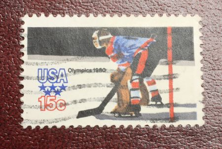 1980 US olympic hockey stamp, Lake Placid New York Stock Photo - 4618476
