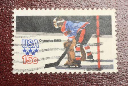 1980 US olympic hockey stamp, Lake Placid New York Stock Photo - 4618476