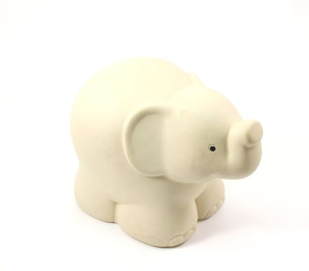 Childs plastic, white, overstuffed, toy elephant on a white background Stock Photo