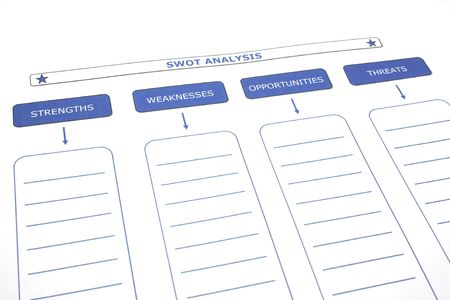 filled out: SWOT analysis paper ready to be filled out. Stock Photo