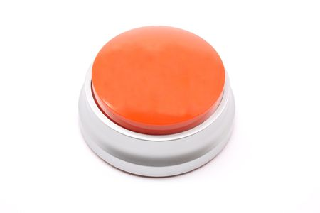 Large, red, push button photographed on a white background
