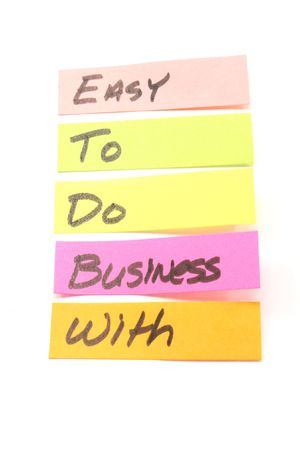 custumer: Easy to do business with sticky notes shows a colorful business concept. Stock Photo
