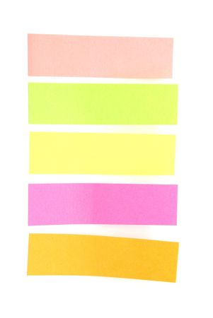 Blank colorful sticky notes in pink, green, yellow, orange, ready for your text. photo
