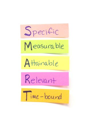specific: Photograph of several sticky notes labeled wtih the word SMART which means the goals Specific, Measurable, Attainable, Relevant, time Bound.