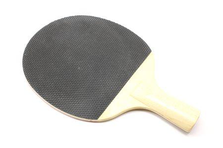 Tenis de mesa paddle en negro con mango de madera fotografiado sobre un fondo blanco Foto de archivo - 5657177