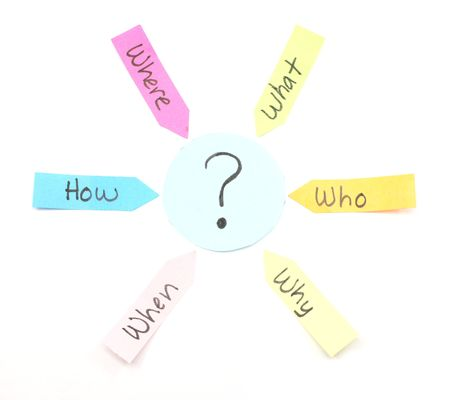 when: Who What Where Why When How sticky notes colorfully arrayed around a question mark.