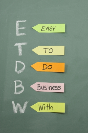 ETDBW Easy to do business with on a blackboard with colorful sticky notes