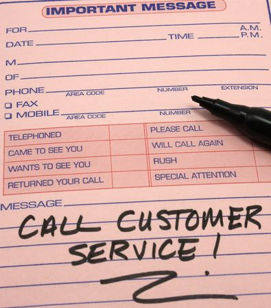 important: Call Customer Service written on a pink Important message pad