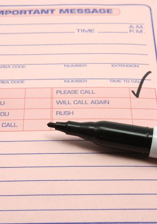 important: Pink Important Message pad with the please call baox checked Stock Photo