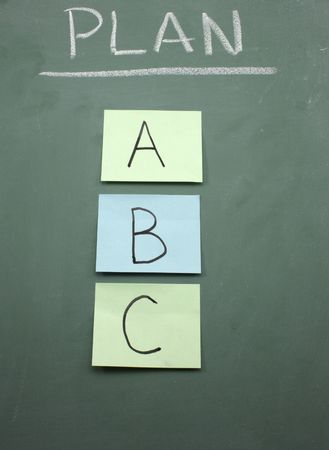 Plan A, B, or C written on colored sticky notes on a blackboard.  Choose one. photo