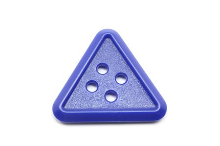 Blue Triangle button on an isolated white background. photo