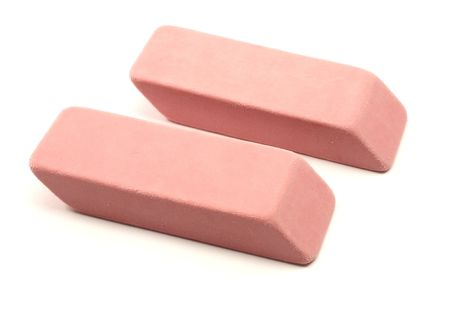 flaw: Photograph of two pink erasers photographed on white